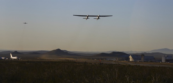 Stratolaunch, a giant six-engine aircraft with the world's longest wingspan , makes its historic first flight from the Mojave Air and Space Port in Mojave, California on April 13, 2019