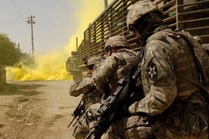 Soldiers from the 5th Battalion of the 20th Infantry Regiment in Baqubah, Iraq, in March 2007. (Staff Sgt. Stacy L. Pearsall/U.S. Air Force)